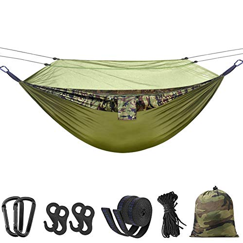 "Hieha Double Camping Hammock with Mosquito Net Tree Hammocks,Lightweight Portable Travel Hiking Camping Hammock with Tree Straps for Backpacking,Outdoor,Home,Backyard&Mountaining 118""(L) x 78""(W)"
