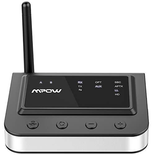 Mpow 164Ft Long Range Bluetooth 5.0 Transmitter Receiver, aptX Low Latency Bluetooth Transmitter for TV with Optical Digital, RCA & 3.5mm Aux, Bluetooth Audio Adapter with aptX HD for Home Stereos