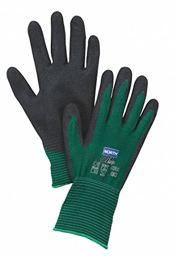 (North NF35/9L by Honeywell Size 9 NorthFlex Oil Grip 13 Gauge Cut Resistant Black Nitrile Palm Coated Work Gloves With Dark Green Seamless Nylon Liner And Knit Wrist (1/PR))