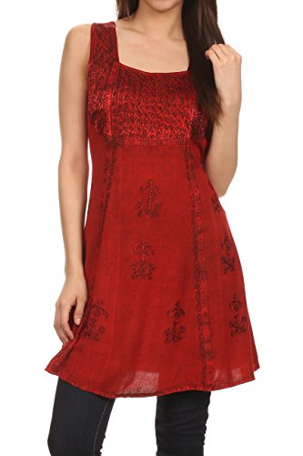 Sakkas 15234 - Kalee Embroidered Adjustable Sleeveless Tunic Blouse / Short Dress - Red - 1X/2X