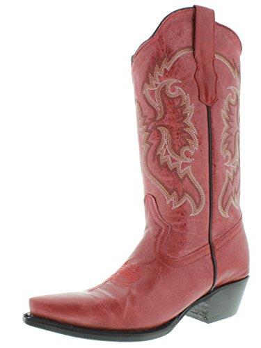 Cowboy Professional Mujeres Red 590 Classic Leather Botas Vaqueras Con Punta Redonda Rojo