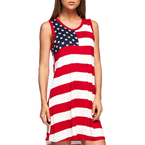 Hot ! New Fashion Women American Flag Printed Dress, Ninasill Exclusive Stripe Casual Sleeveless Summer Dress (S, White)