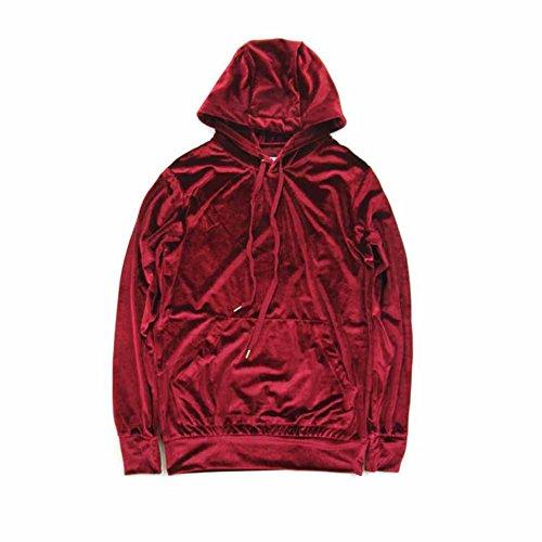 (AOTUBON Mens Velvet Velour Oversized Big Loose Hip Hop Red Long Sleeve Hoodies)