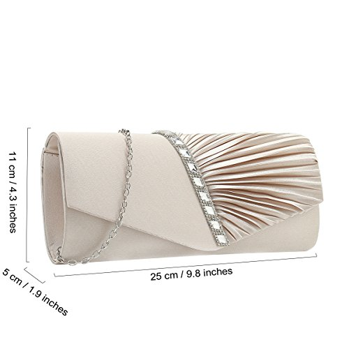 Satin Crystal Pleated Clutch Charming Handbag and Champagne Evening Embellished Tailor RBZn0Bt