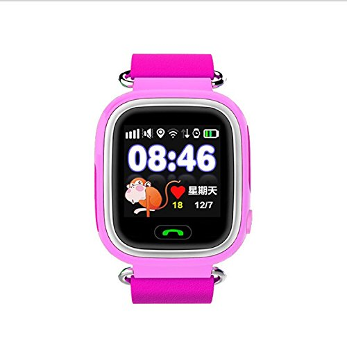 Q90 Tracker GPS/GSM/GPRS Precise Positioning Smart Watch for Kid Children Wristwatch SOS Support GSM phone Android IOS Call Finder Health Replay Chat Geofence Sound Guardian Anti Lost Watch(PINK) ()