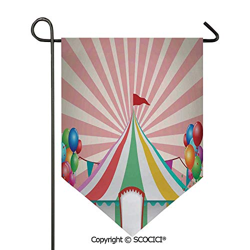 (SCOCICI Easy Clean Durable Charming 28x40in Garden Flag Old Style Vintage Circus Tent with Baloons Carnival Celebration Performance Animals Artwork,Multi Double Sided Printed,Flag Pole NOT Included)