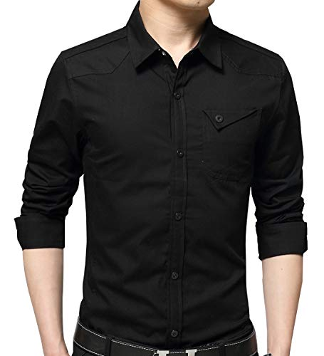 XTAPAN Mens Casual Cotton Slim Fit Long Sleeve Button Down Dress Shirt Black XL ()