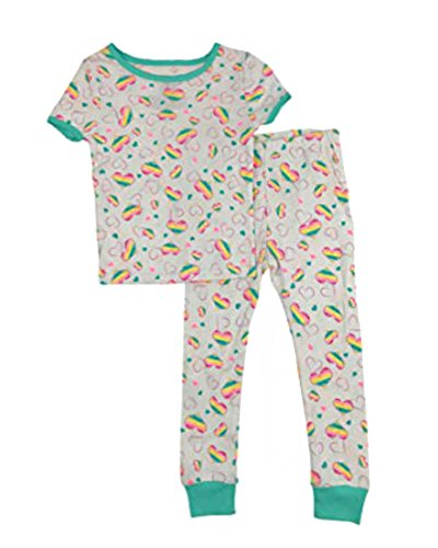 - Baby and Toddler Girls Snug Fit Graphic Pajama Shirt and Pants Two-Piece Set (2T Rainbow Hearts)