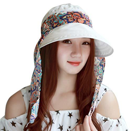 XILALU Women'S Summer Outdoor Beach Sunscreen Cap UV Protection Caps Foldable Floppy Sun Visor Hat White ()