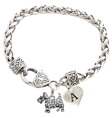 (Custom Scottish Terrier Scottie Dog Silver Bracelet Jewelry Initial Charm)