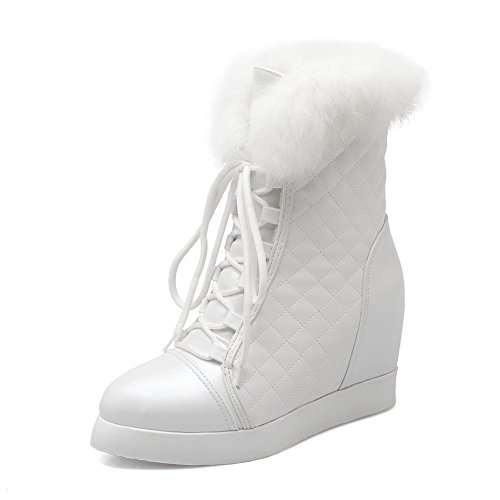 1TO9 Womens Heighten Inside Bandage Platform Imitated Leather Boots White