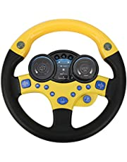 Ladieshow Simulation Steering Wheel Children Early Education Initiation Toy with Base Birthday Gifts (Not Including Batteries)(Yellow)