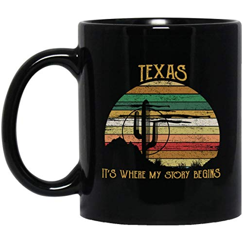 MKTEE Retro Vintage Texas It's Where My Story Begins Mug Gifts 11oz 15oz Funny Coffee Cup for Men Women Friends -