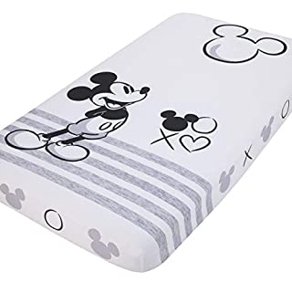 Disney Mickey Mouse - Grey, Ivory & Black Photo Op Fitted Crib Sheet, Black, Grey, Ivory