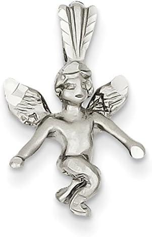 Diamond2Deal 14k White Gold Satin Angel Pendant