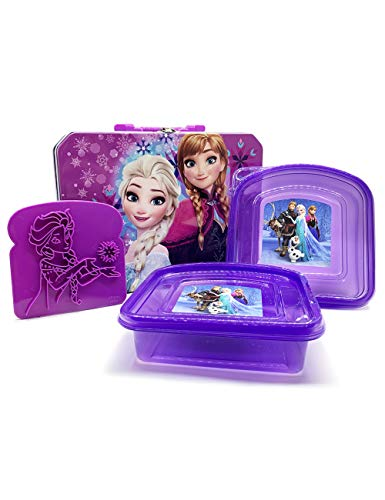 Disney Frozen Tin Lunch Box- Elsa and Anna with 2 Sandwich Containers and Toast Stamp (Box Frozen Lunch)