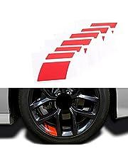 "Car Wheel Decals Stickers, Night Safety Decoration Stripe Universal Reflective Rim Stickers,Universal Fit 18""-21"" Wheels Decoration Line Stickers (A- RED)"