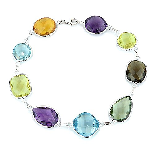 14K White Gold Link Bracelet With Large Gemstone Stations 7-8 Inches