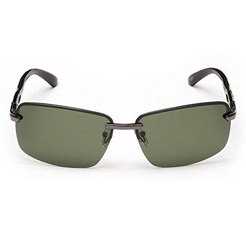LOMOL Mens Fashion Metal Frame Polarized Cycling Drive Fishing Rectangular - Bridge Golden Sunglasses Wholesale