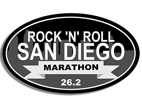 MAGNET 3x5 inch Oval Rock n Roll SAN DIEGO MARATHON 26.2 Sticker - ca run running ran Magnetic vinyl bumper sticker sticks to any metal fridge, car, signs ()