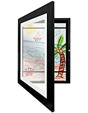 Americanflat 10x12.5 Kids Artwork Picture Frame in Black- Displays 8.5x11 With Mat and 10x12.5 Without Mat - Composite Wood with Shatter Resistant Glass - Horizontal and Vertical Formats