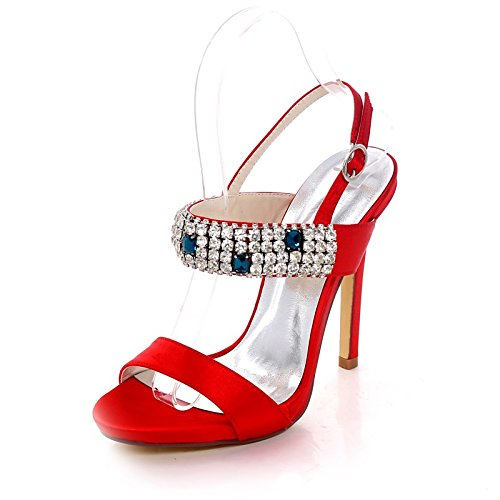 ZHZNVX Zapatos de mujer de satén de bomba básica Primavera Verano sandalias Stiletto talón Talón abierto hebilla de strass para Boda,noche plateado oscuro Red