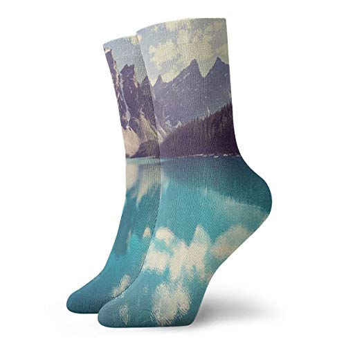 BAIBAIWA Moraine Lake in Banff National Park Men Women 3D Printed Funny Short Socks,Compression Socks Stretch Socks,Outdoor Non-Slip Athletic Socks Hiking Sports Socks Yoga Socks