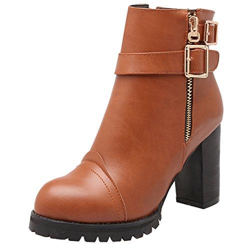 AIYOUMEI Damen Winter Stiefeletten mit Schnalle und Plateau Blockabsatz High Heels Ankle Boots Braun