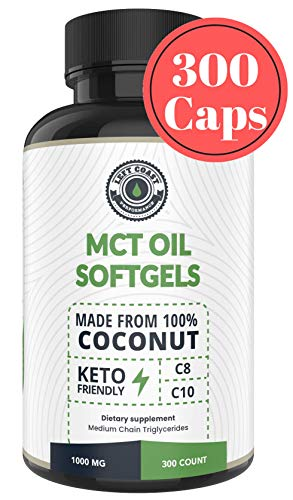 MCT Oil Pills (300 MCT Capsules) derived only from Coconuts. C8 / C10 MCT Oil Softgels