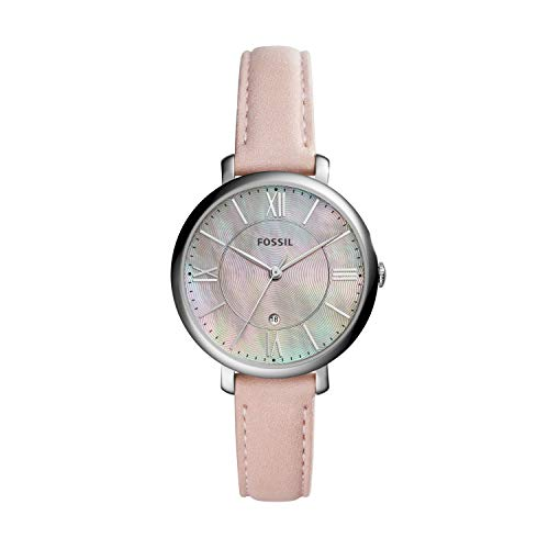 Fossil Women's Jacqueline Quartz Stainless Steel and Leather Casual Watch, Color: Silver-Tone, Pink (Model: ES4151)