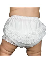 I.C. Collections Baby Girls White Batiste Rumba Diaper Cover Bloomers, Size S