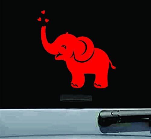 Cute Elephant Hearts Vinyl Decal Sticker FREE SHIPPING car window laptop