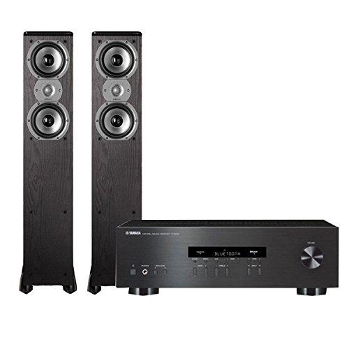 Yamaha R-S202 Stereo Receiver with Bluetooth and Polk TSi300 3-Way Tower Speakers with Two 5-1/4