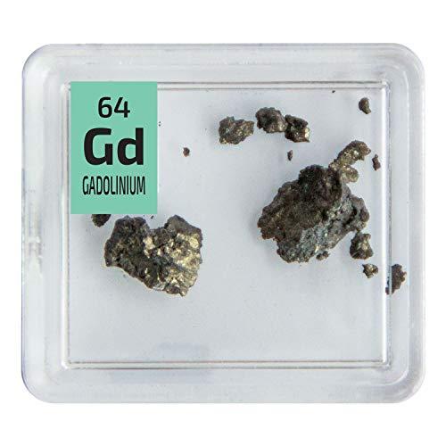 Gadolinium Metal Pieces 99.9% Pure Rare Earth Element Sample in a PEGUYS Periodic Element Tile