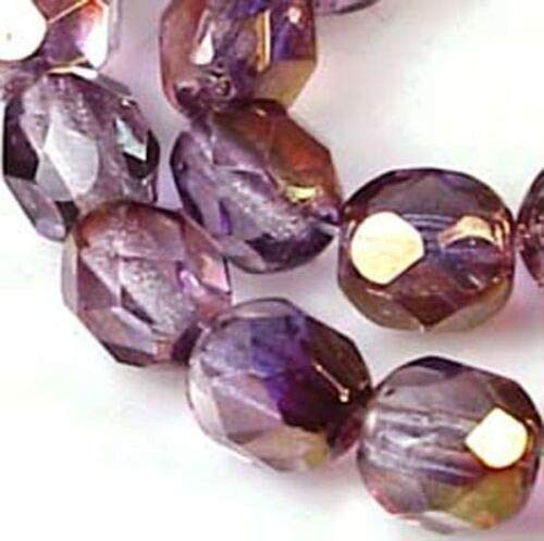 (25 Beads) 6mm Firepolish Czech Glass Faceted Round Luster Amethyst - Round Beads Amethyst Firepolish