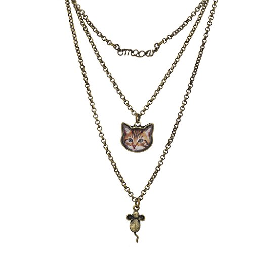 Lux Accessoires Cat Mouse Meow par couches Collier à breloques