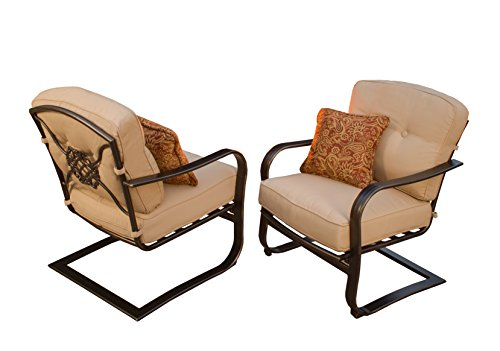 Oakland Living 2 Piece Heritage Deep Seating Spring Chairs, Antique Bronze