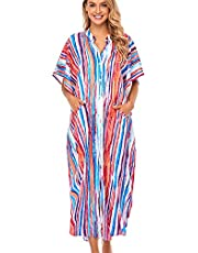 YouKD Wemon's Summer Long Kaftan Maxi Dress Bohemian Swimsuit Beach Cover Up Robes
