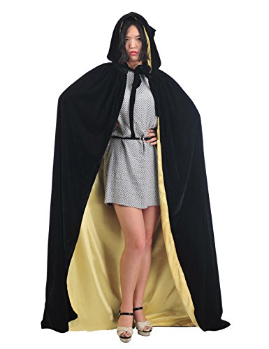 [Topwedding Christmas Deluxe Cloak Adult Halloween Costumes Cape,black & gold, XL] (Velvet Gothic Cloak 63 Deluxe Costumes)