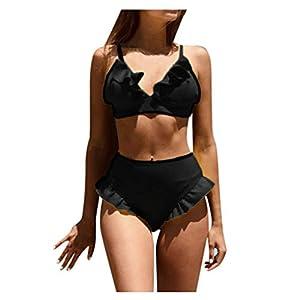 Donna e Ragazza Halter Costume con Imbottito da Bagno Push-Up Tinta Unita Bikini Spiaggia Brasiliano Coordinati Tankini… 1 spesavip