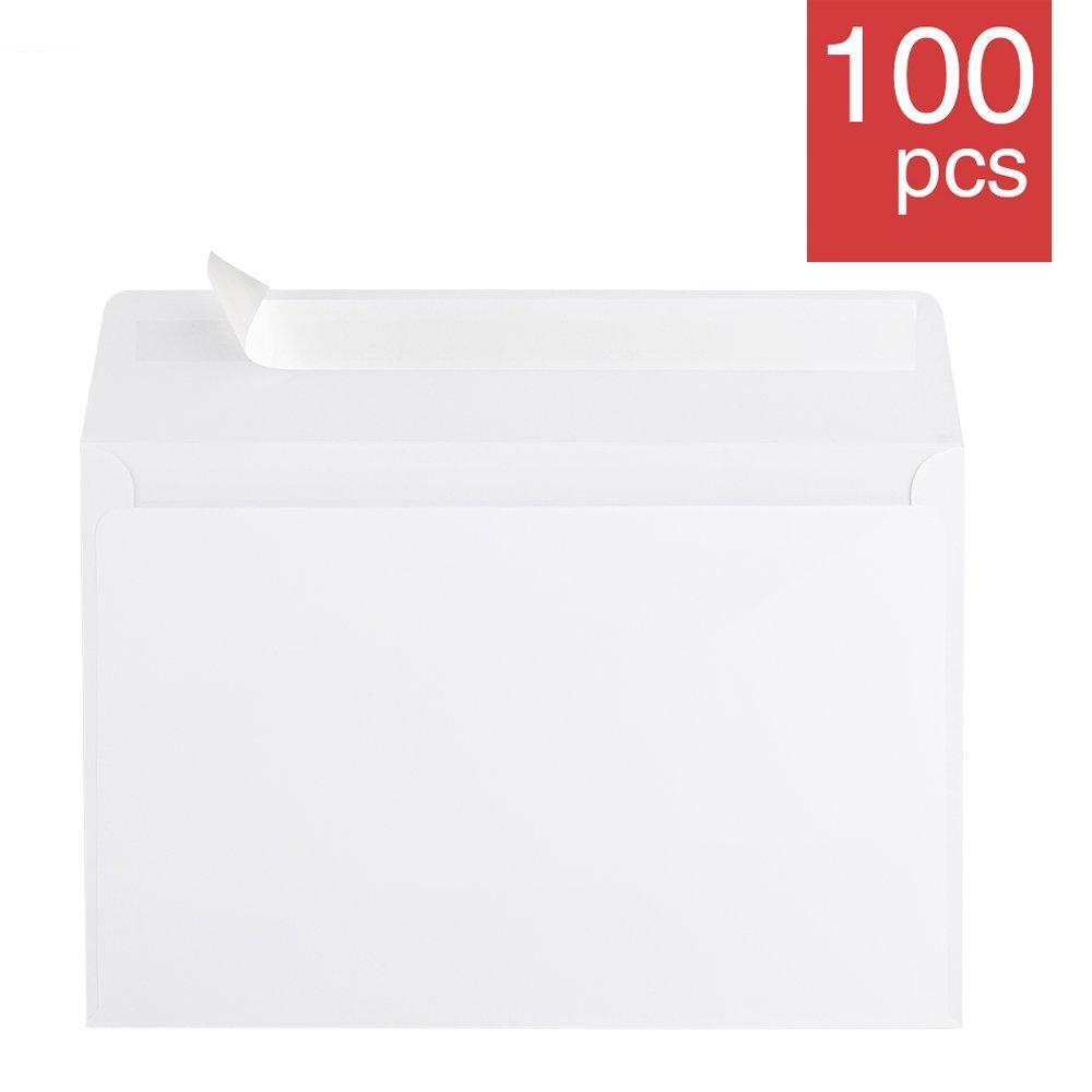 ACKO 6x9 Invitation Envelopes Self Seal Booklet Envelopes White Envelope 100 Pack 00073