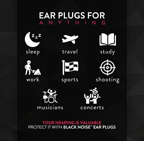 Black Noise Premium Ear Plugs | 33db NRR Noise Cancelling, Soft & Durable Ear Plugs for Concerts, Sleeping, Musicians, Motorcycles, Shooting, Loud Work Environments and Sports, Travel and Study - 100 by Black Noise                                                                                (Image #3)