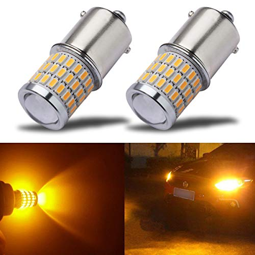 iBrightstar Newest 9-30V Super Bright Low Power 1156 1141 1003 BA15S LED Bulbs with Projector replacement for Turn Signal Lights,Amber Yellow ()