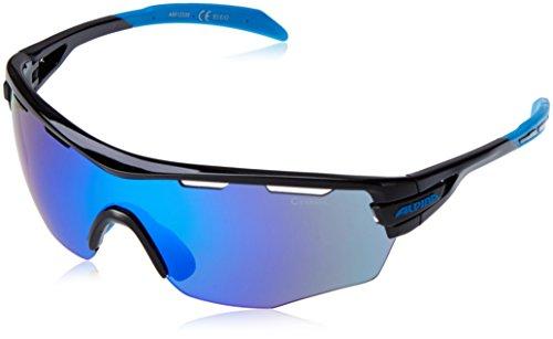 ALPINA Tri-Scray Shield Lunettes de soleil de sport noir - Black - Fassung: Black-Cyan; Gläser: Blue Mirror S3 / Clear S0 / Orange Mirror S2