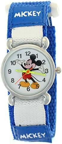 TimerMall Kids Mickey Velcro Dark Blue Nylon Quartz Analogue Disney Cartoon Time Teacher Watches