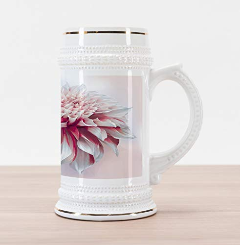 Lunarable Dahlia Flower Beer Stein Mug, Spherical Dahlia with out Curved Florets in Long Axis Purity Picture Print, Traditional Style Decorative Printed Ceramic Large Beer Mug Stein, Pink