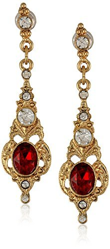 Downton Abbey Gold-Tone Belle Epoch Oval Ruby Stone with Crystal Accents Drop Earrings by Downton Abbey