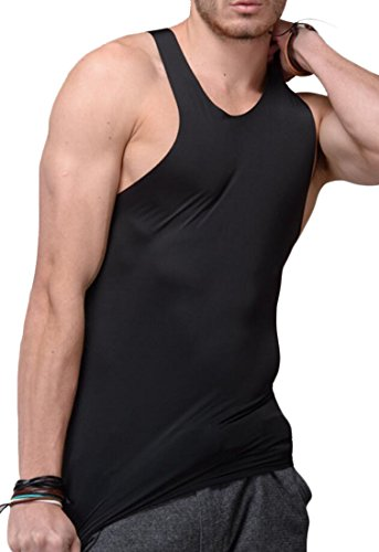 Acquaa Men Basic Ice Silk Sleeveless Tank Tops Vests Black XL (China Top Mens Silk)