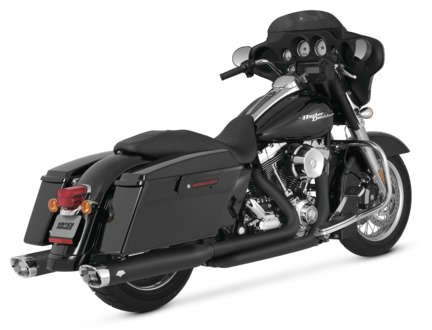 06-16 HARLEY FLHX2: Vance & Hines Monster Ovals Slip-On Exhaust (Black With Chrome Tips) ()