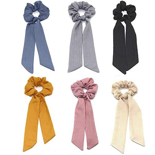 - 6Pcs Hair Bow Streamers Hair Ring Fashion Ribbon Girl Hair Bands Scrunchies Horsetail Tie Solid Headwear Accessories For Girl Women
